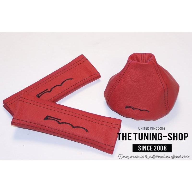 Seat Belt Covers Gear Gaiter Red Genuine Leather Black
