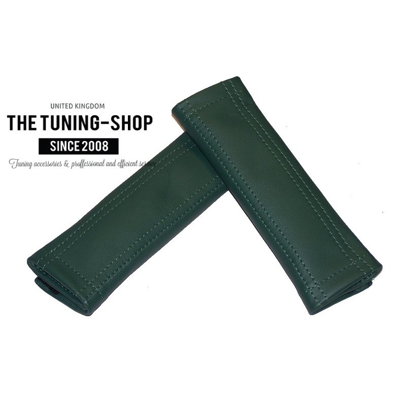 SEAT BELT COVERS BRITISH RACING GREEN GENUINE LEATHER