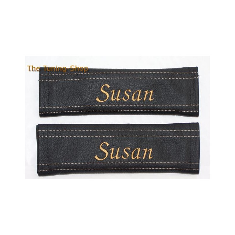 2 X PERSONALIZED SEAT BELT COVERS BLACK GENUINE LEATHER