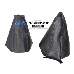 FOR  VAUXHALL CORSA D 2006+ GEAR HANDBRAKE GAITER BLACK BLUE STITCHING