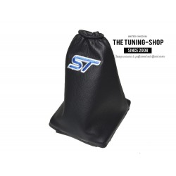 FOR FORD FOCUS 2004-2008 GEAR GAITER BLACK LEATHER BLUE STITCHING WITH PLASTIC FRAME