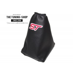 """FOR FORD FOCUS 2004-2008 GEAR GAITER BLACK LEATHER BLUE """"ST"""" EMBROIDERY WITH PLASTIC FRAME"""