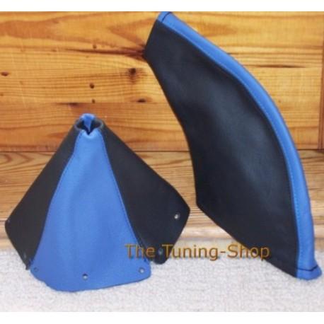 MAZDA MX5 MIATA 89-97 GEAR HANDBRAKE GAITER BOOT BLACK+BLUE LEAT