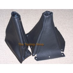 FOR  NISSAN SKYLINE R33 GEAR+HANDBRAKE GAITERS BOOTS BLACK LEATHER