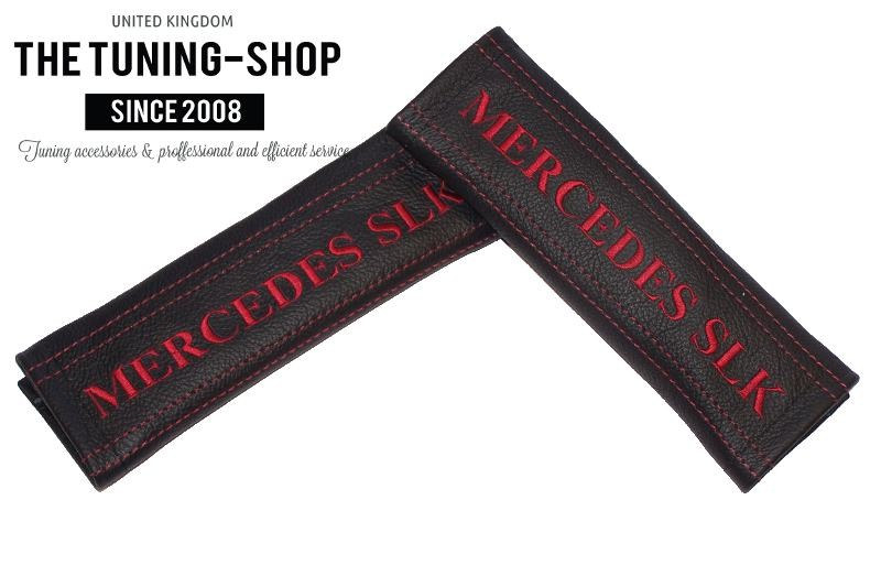 Seat belt covers pads black leather dark red stitch for Mercedes benz seat belt purse