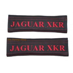SEAT BELT COVERS BLACK GENUINE LEATHER RED STITCHING CUSTOM EMBROIDERY FOR JAGUAR XKR NEW