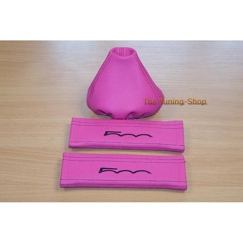 Seat Belt Covers Gear Gaiter Pink Genuine Leather Custom