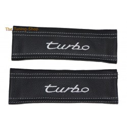 2x SEAT BELT COVERS BLACK GENUINE LEATHER CUSTOM EMBROIDERY turbo GREY STITCHING NEW