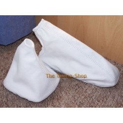BMW E30 GEAR+HANDBRAKE GAITERS BOOTS WHITE LEATHER