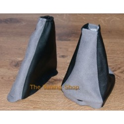 FORD FOCUS 98-04 GEAR+HANDBRAKE GAITER BLACK LEATHER+SUEDE GREY