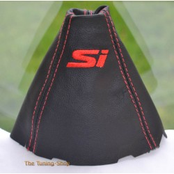 HONDA CIVIC MK8 SEDAN COUPE Si FA FD FG 06-11 GEAR GAITER BLACK LEATHER EMBROIDERY SI NEW