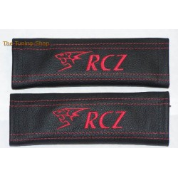 SEAT BELT COVERS BLACK GENUINE LEATHER EMBROIDERY LION WHITE STITCHING FOR PEUGEOT FANS NEW