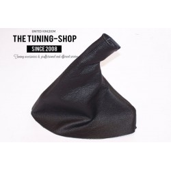 JAGUAR S-TYPE 2000-2008 HANDBRAKE GAITER BLACK LEATHER BEIGE STITCHING