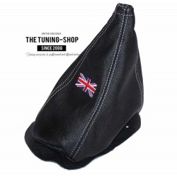 MINI COOPER CLASSIC GEAR GAITER / SHIFT BOOT BLACK LEATHER RED THREAD EMBROIDERY