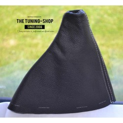 FITS CITROEN C3 DS3 2010-2015 5 SPEED GEAR GAITER BLACK LEATHER GREY STITCHING EMBROIDERY