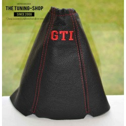 PEUGEOT 205 GEAR GAITER BLACK LEATHER EMBROIDERY GTI RED STITCHING