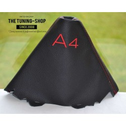 AUDI A4 2008-2015 GEAR GAITER BLACK LEATHER embroidery GREY STITCHING