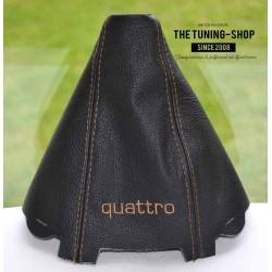 AUDI A4 2001-2004 GEAR GAITER BLACK LEATHER embroidery QUATTRO CREAM STITCHING