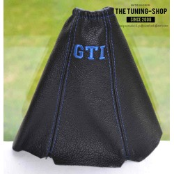 PEUGEOT 205 GEAR GAITER BLACK LEATHER EMBROIDERY GTI GREY STITCHING