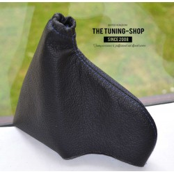 VAUXHALL OPEL OMEGA B  1994-1999 PRE-FACELIFT HANDBRAKE GAITER BLACK LEATHER WHITE STITCHING