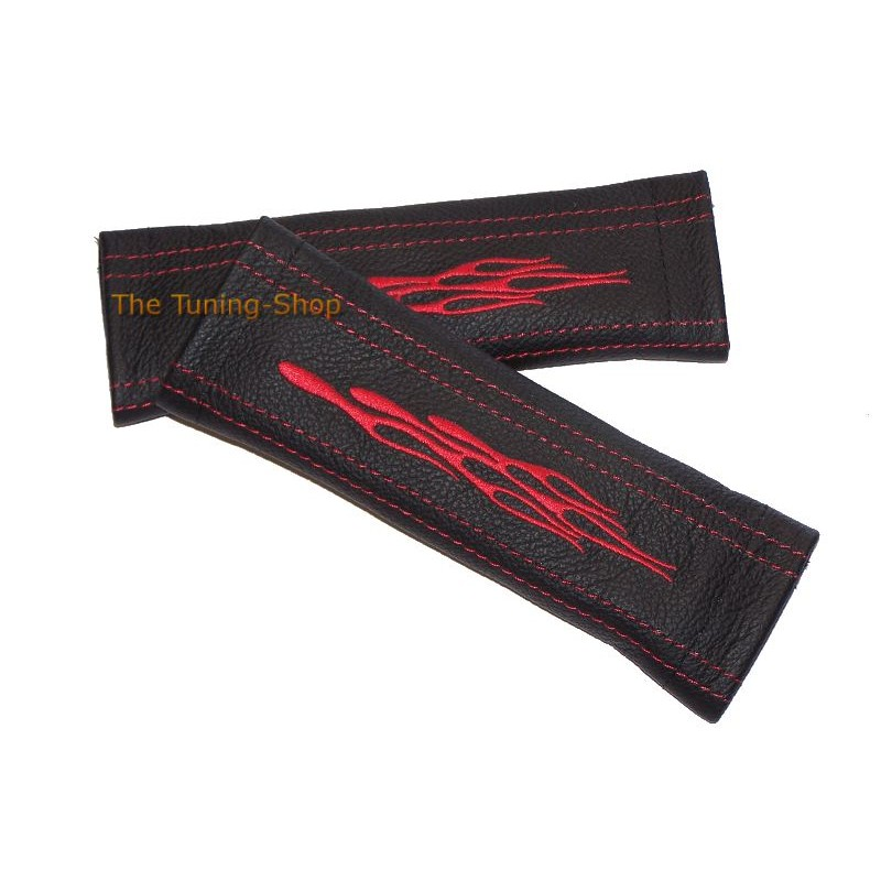 Seat Belt Covers Harness Pads Black Genuine Leather Custom Embroidery Red Flames Finished With Red Stitching New on Red Volvo S70 2000