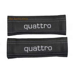 SEAT BELT HARNESS COVERS PADS BLACK GENUINE LEATHER CUSTOM EMBROIDERY QUATTRO WHITE STITCHING NEW