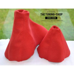 BMW E90 E91 E92 E93  AUTOMATIC GEAR HANDBRAKE GAITER RED SUEDE BLACK STITCHING