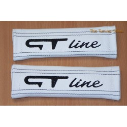 SEAT BELT COVERS WHITE GENUINE LEATHER EMBROIDERY GTI red stitching NEW
