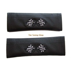 SEAT BELT COVERS BLACK GENUINE LEATHER CUSTOM EMBROIDERY RACING FLAG