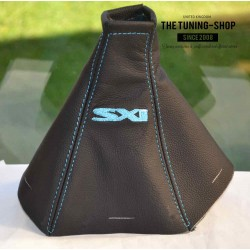 VAUXHALL OPEL VECTRA C 02-08 SIGNUM GEAR GAITER BLACK LEATHER LIGHT BLUE STITCHING Embroidery SXI