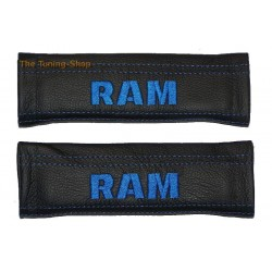 SEAT BELT COVERS BLACK GENUINE LEATHER CUSTOM EMBROIDERY RAM blue stitching NEW for DODGE