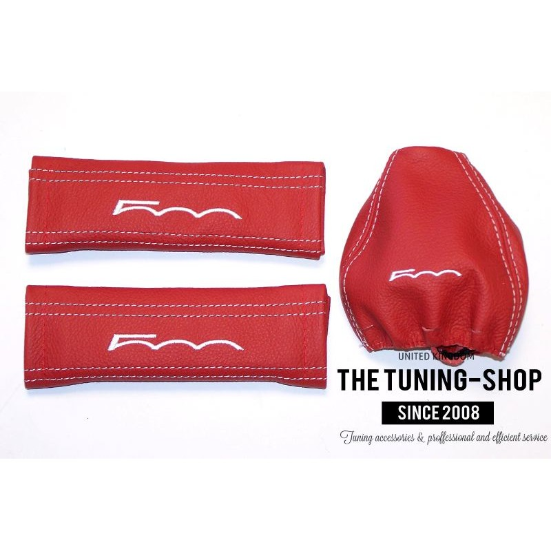 Seat Belt Covers Gear Gaiter Red Genuine Leather White
