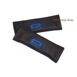 SEAT BELT COVERS BLACK GENUINE LEATHER EMBROIDERY Scooby BLUE STITCHING for Subaru Impreza NEW