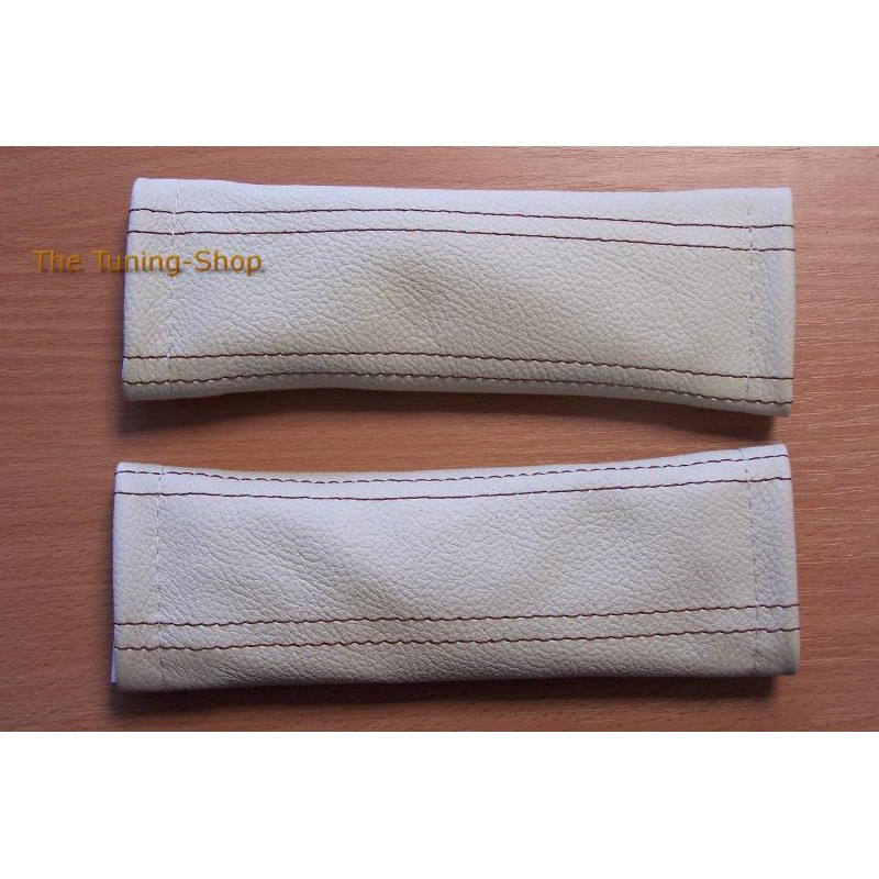 2 X Custom Seat Belt Covers Genuine Cream Leather Brown