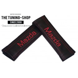 SEAT BELT COVERS PADS x 2 GENUINE BLACK LEATHER CUSTOM EMBROIDERY FOR Mazda WITH RED STITCHING FOR MAZDA new