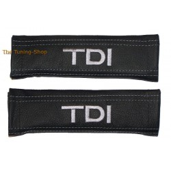 SEAT BELT HARNESS COVERS PADS BLACK GENUINE LEATHER EMBROIDERY TDI grey stitching NEW