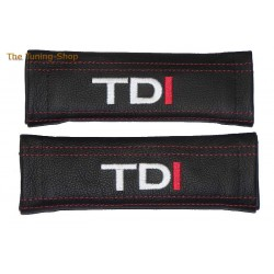 SEAT BELT HARNESS COVERS PADS BLACK GENUINE LEATHER EMBROIDERY TDI red stitching NEW