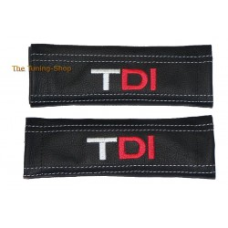SEAT BELT HARNESS COVERS PADS BLACK GENUINE LEATHER EMBROIDERY TDI with red DI white stitching NEW