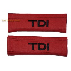 SEAT BELT HARNESS COVERS PADS BLACK GENUINE LEATHER EMBROIDERY TDI with red TD white I and black stitching NEW