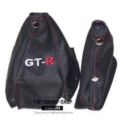 NISSAN SKYLINE R34 GTS GTR 1998-2002 BLACK LEATHER GEAR GAITER RED STITCHING EMBROIDERY GT-R