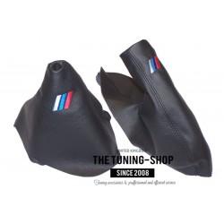 FOR BMW 1 SERIES E81 E82 E87 E88 AUTOMATIC GEAR HANDBRAKE GAITER BLACK LEATHER M3 SIGN