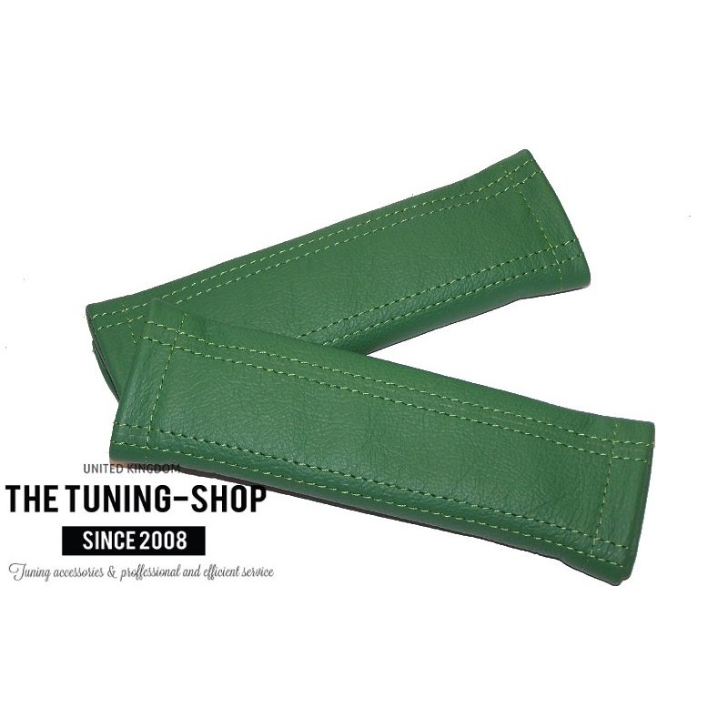 2 X Custom Seat Belt Covers Pads Genuine Mid Green Leather