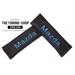 SEAT BELT COVERS PADS x 2 GENUINE BLACK LEATHER CUSTOM EMBROIDERY FOR Mazda WITH BLUE STITCHING FOR MAZDA new