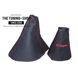 FOR HYUNDAI COUPE RD2 1999-2001 GEAR HANDBRAKE GAITER BLACK LEATHER RED STITCHING