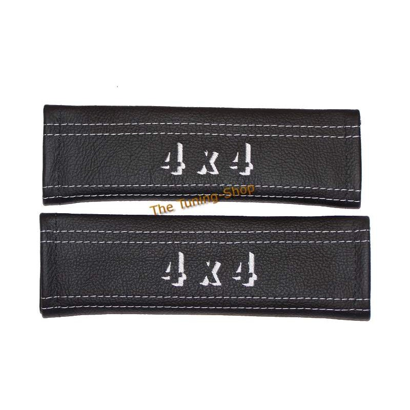 SEAT BELT HARNESS COVERS PADS BLACK LEATHER EMBROIDERY 4x4 WHITE STITCHING NEW - The Tuning Shop Ltd