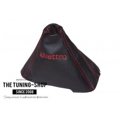 FOR AUDI A6 C7 2004-2011 AUTOMATIC GEAR GAITER BLACK LEATHER DOUBLE EMBROIDERY QUATTRO RED STITCHING