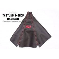 FOR  HONDA CIVIC 3D 1996-2000 GEAR GAITER BLACK LEATHER RED STITCHING