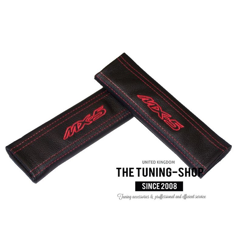 2 x Seat Belt Covers Pads Leather MX-5 Red Embroidery