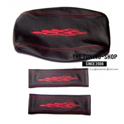 FOR PONTIAC GTO 2004-2006 ARMREST COVER SEAT BELT COVERS BLACK LEATHER RED FLAMES SMALL