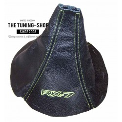 FOR  MAZDA RX-7 RX7 GEAR GAITER BLACK LEATHER LIME GREEN STITCHING CUSTOM EMBROIDERY NEW